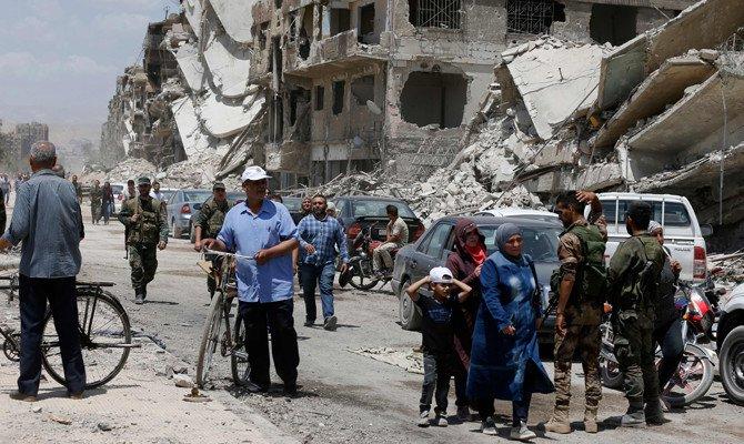 Reruntuhan di Suriah